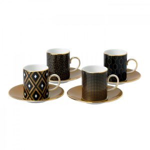 Arris Accent Espresso Cup & Saucer, Set of 4